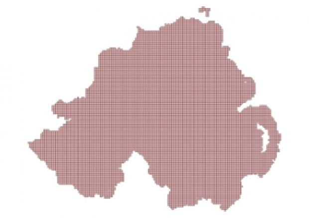 Map of Northern Ireland overlaid with grid squares