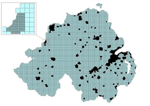 Map of Northern Ireland overlaid with 1km and 100 meter grids