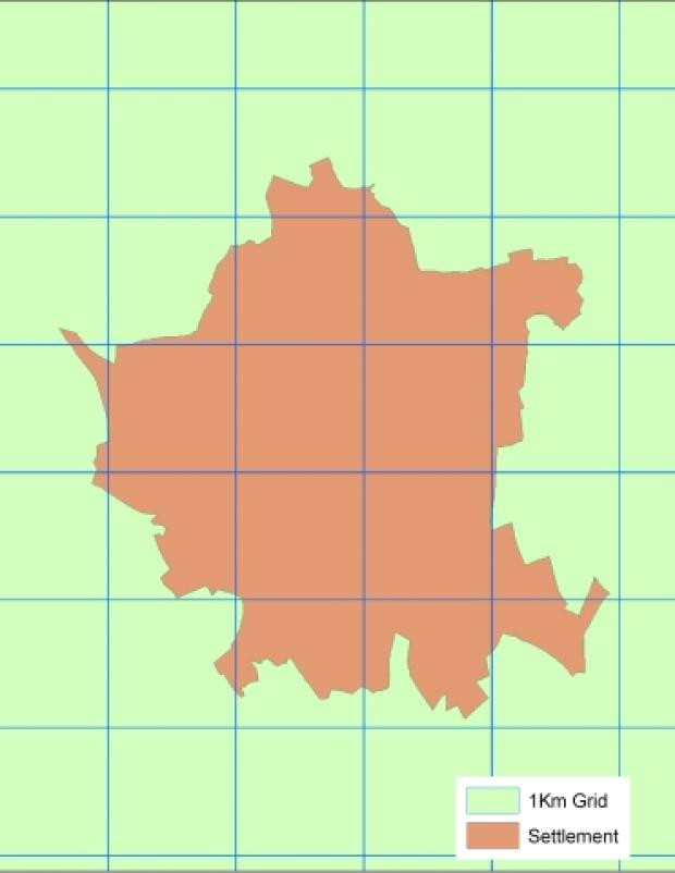 Example settlement overlaid with 1km grid squares