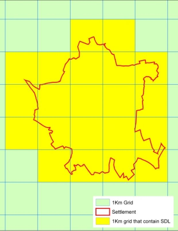 Highlighted 1km grids that contain part or all of example settlement