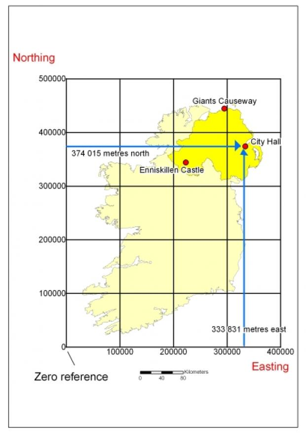 Map of the Isle of Ireland overlaid with 100km grids plus landmarks in Northern Ireland